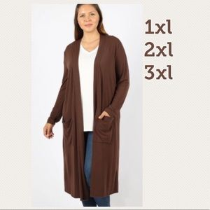 NEW Plus Women's Brown Long Cardigan With Pockets